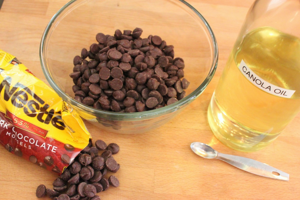Add a Quarter Teaspoon of Canola Oil to the Dark Chocolate Chips