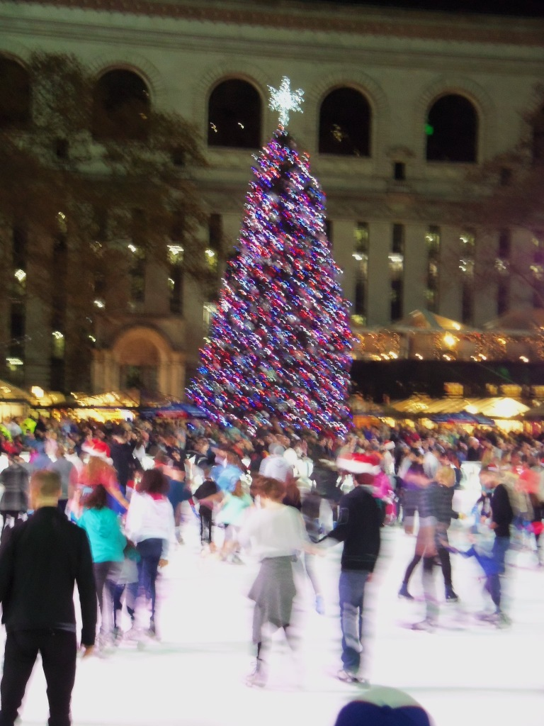 Blury Iceskaters on the Rink in Bryant PArk Christmas Market