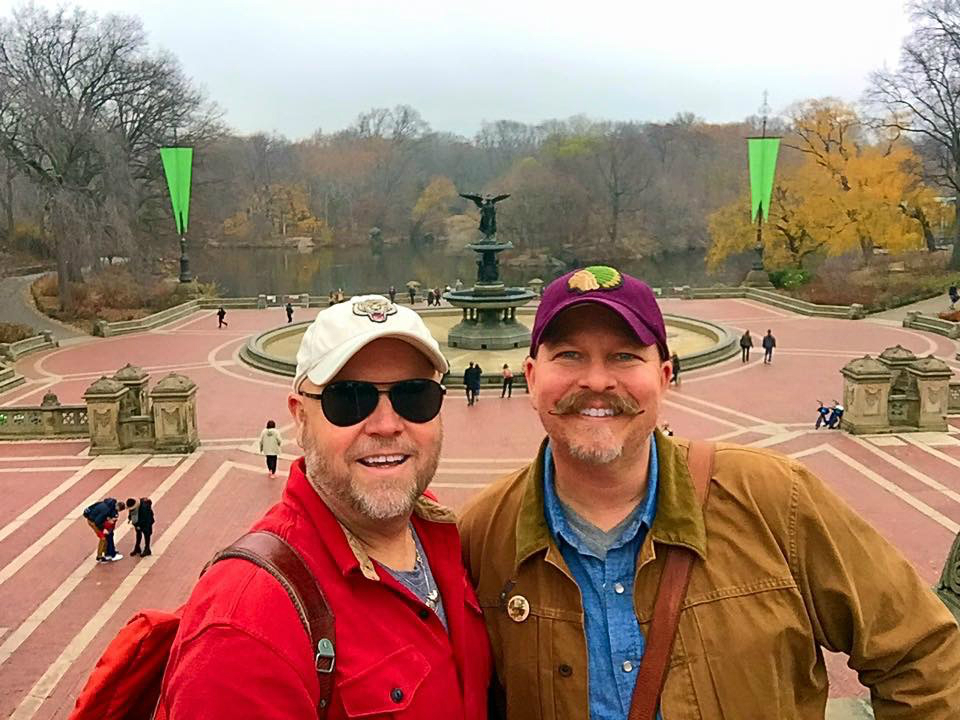 James and Jamie in front of the Bethesda Fountain