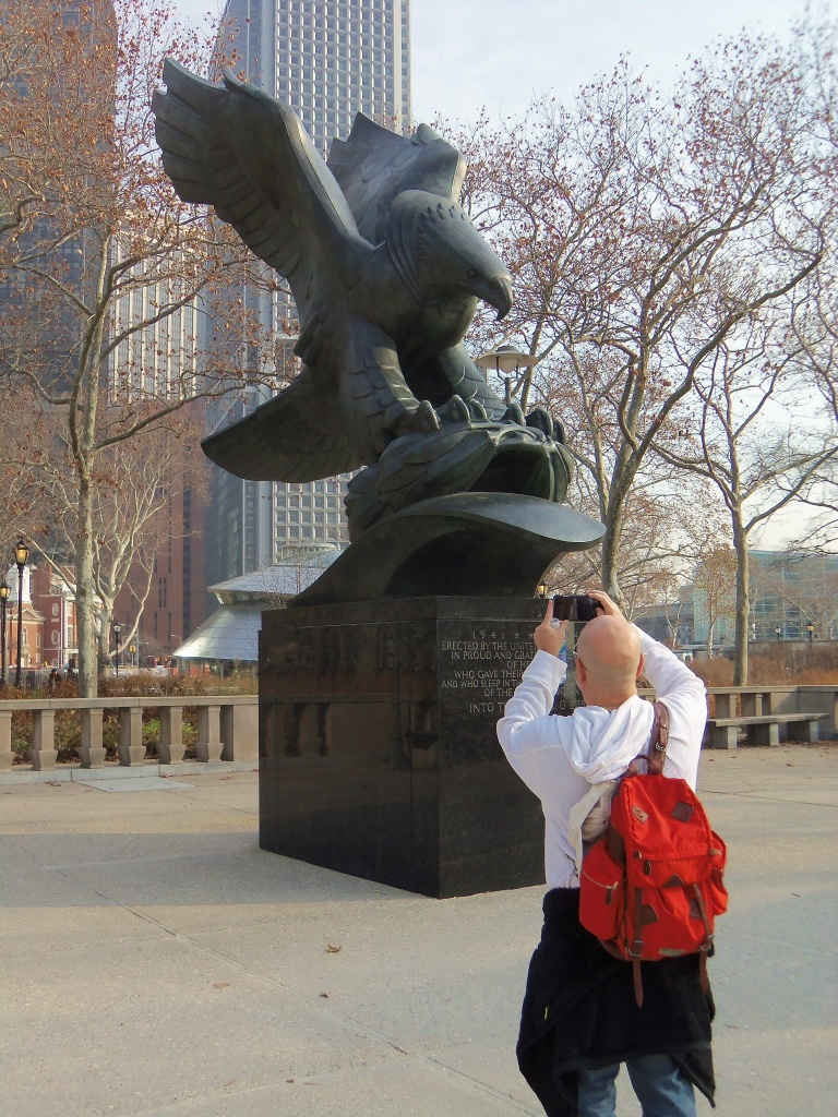 Jamie Taking a Picture of the Eagel in Battery Park