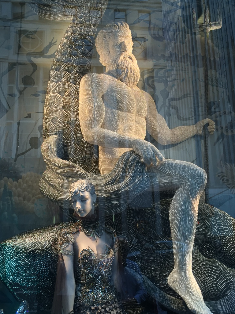 Neptune in the Bergdorf Goodman Holiday Windows