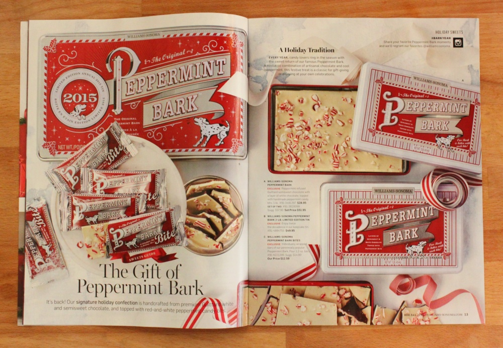 Peppermint Bark in the Pages of the Williams -Sonoma Catalog