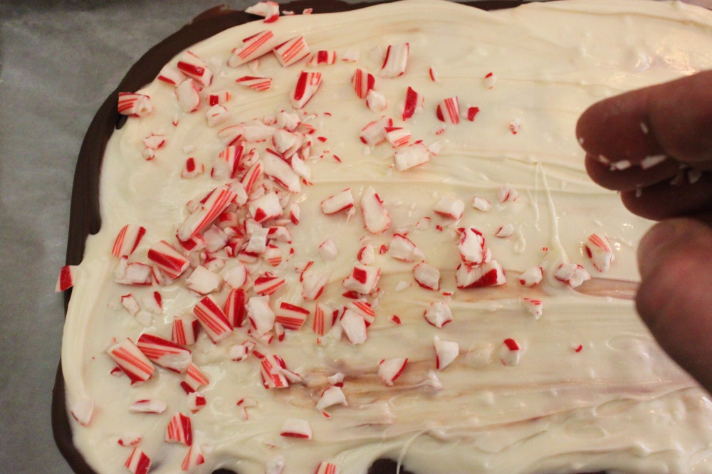 Sprinkle the Broken Peppermint Candy Pieces over the Melted White Chocolate