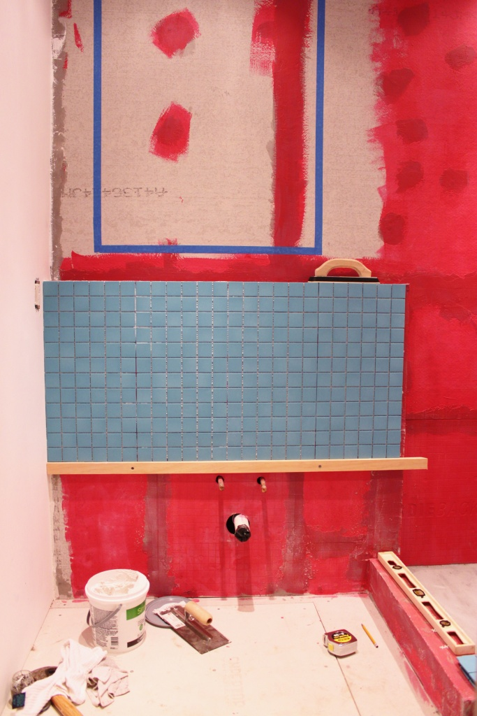 Long Shot of the Frist Few Tiles on the SInk Wall