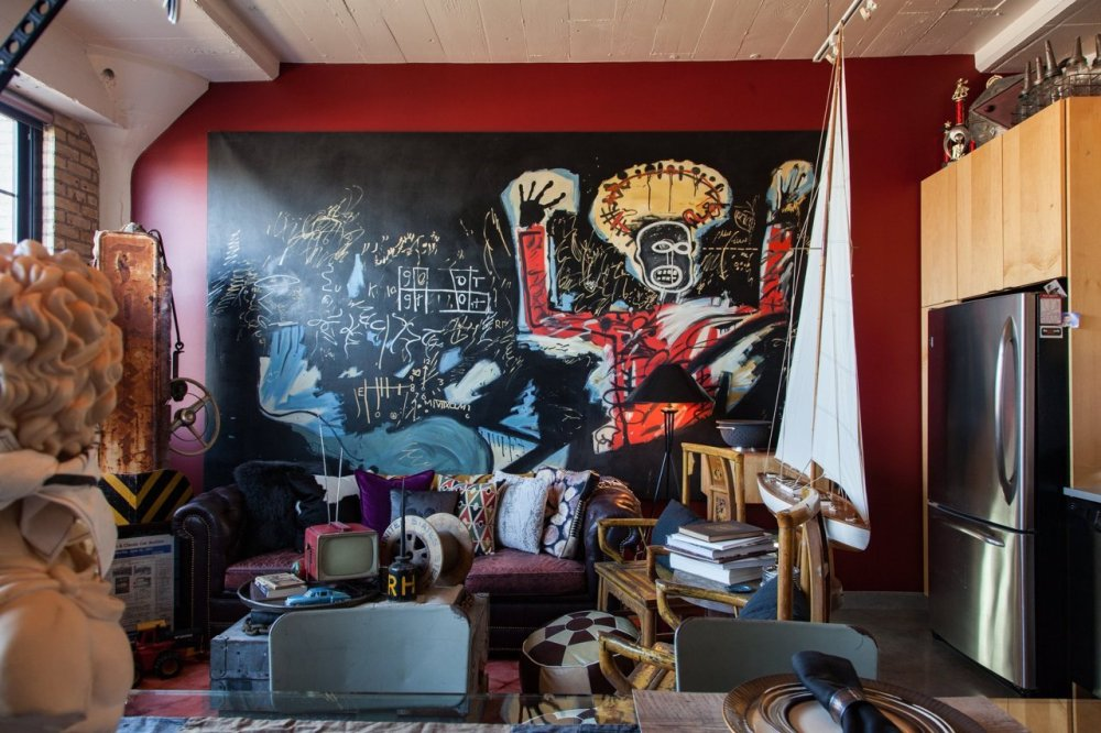 Matts Red Wall with Basquiat