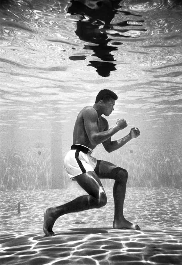 Muhammad Ali Under Water by Flip Schulke