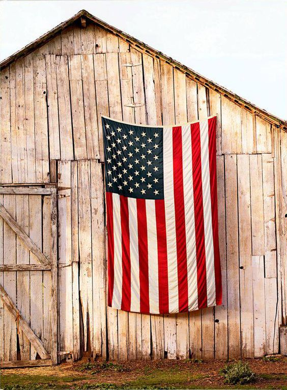 American Flag on the Side of Barn