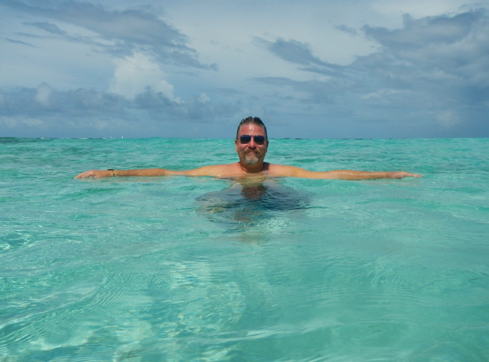 James Enjoying the Natural Pool in the Caribbean