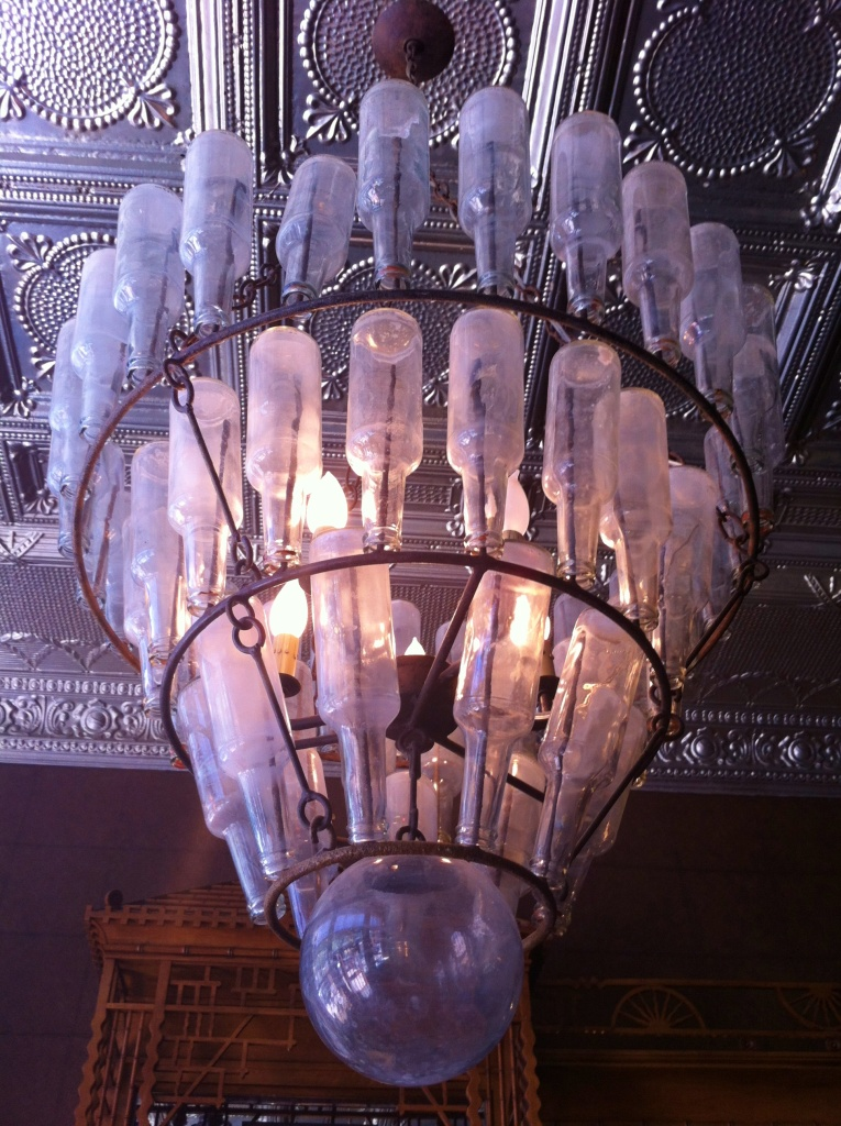 Vintage Bottle Light Fixture in the Hotel Jerome Bar