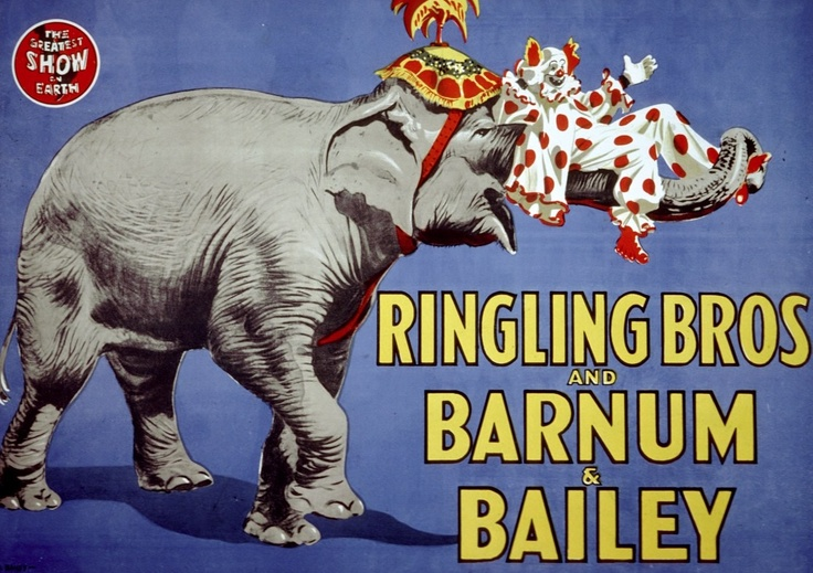 Ringling Bros Elephant and Clown