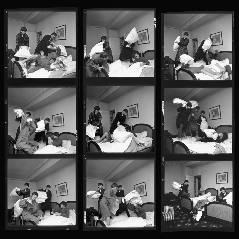 Contact Sheet of Beatles Jumping in Bed