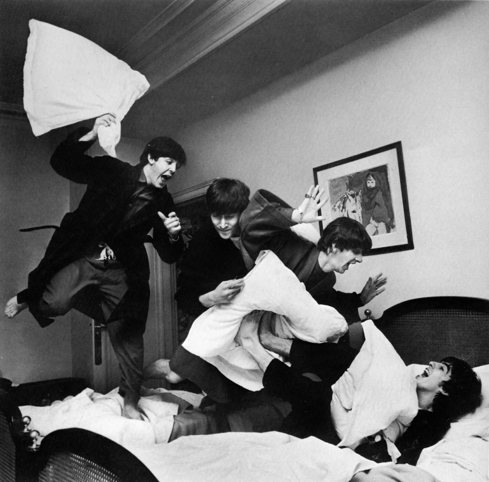 The Beatles Jumping in Bed Harry Benson