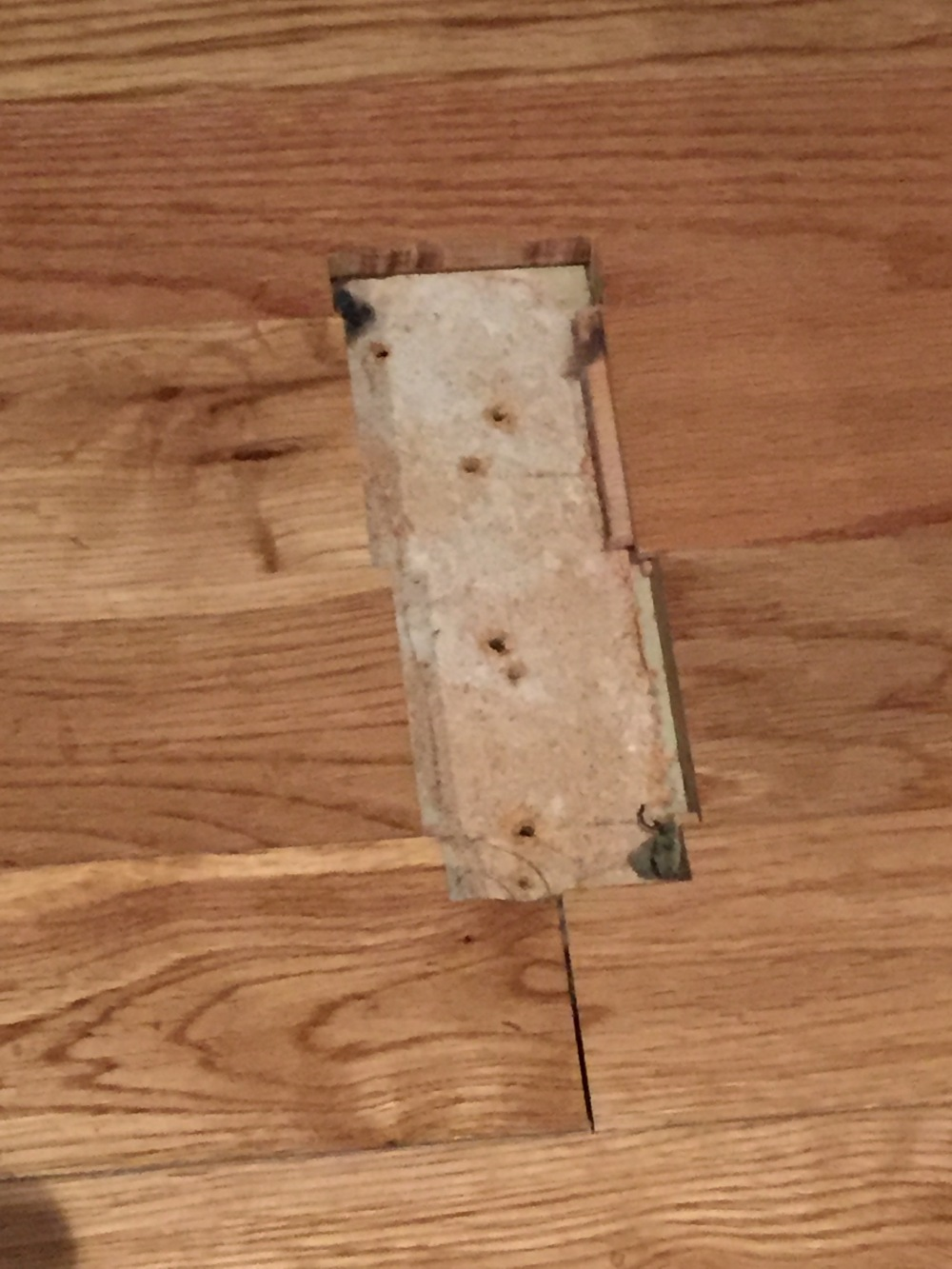 Actual Hole in the Wood Floor Where the Door Slide Was