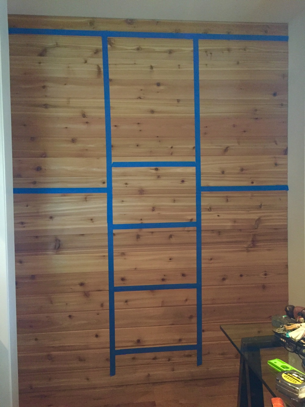 Cedar Wall with Masking Tape LAyout