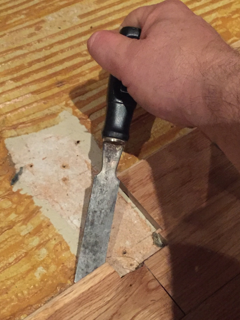 I Used a Wedge to Pry Up the Old Floor Boards