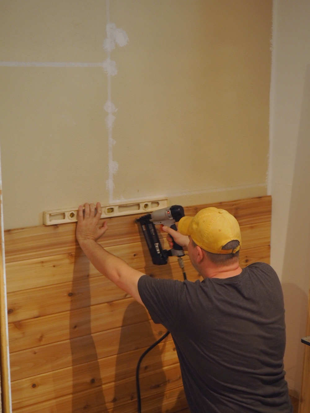 James Installing the Cedar Shiplap