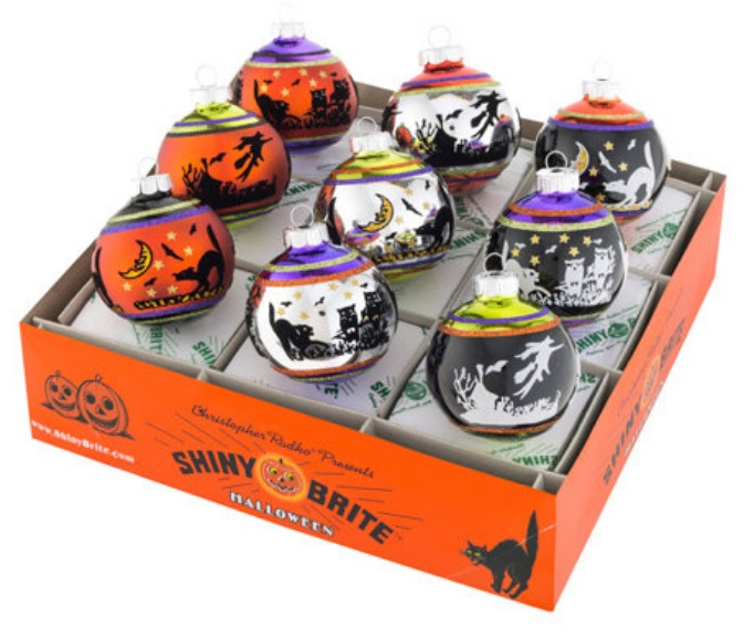 Flocked Halloween Shiny Brite Ornaments