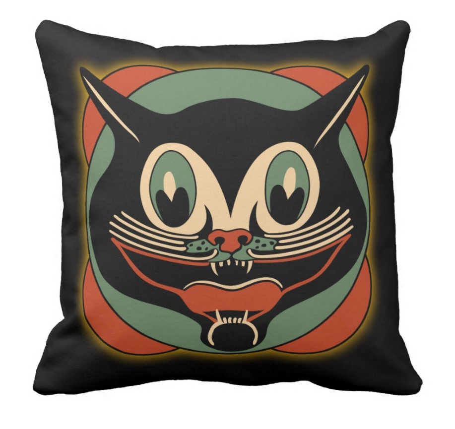Vintage Halloween Black Cat Pillow