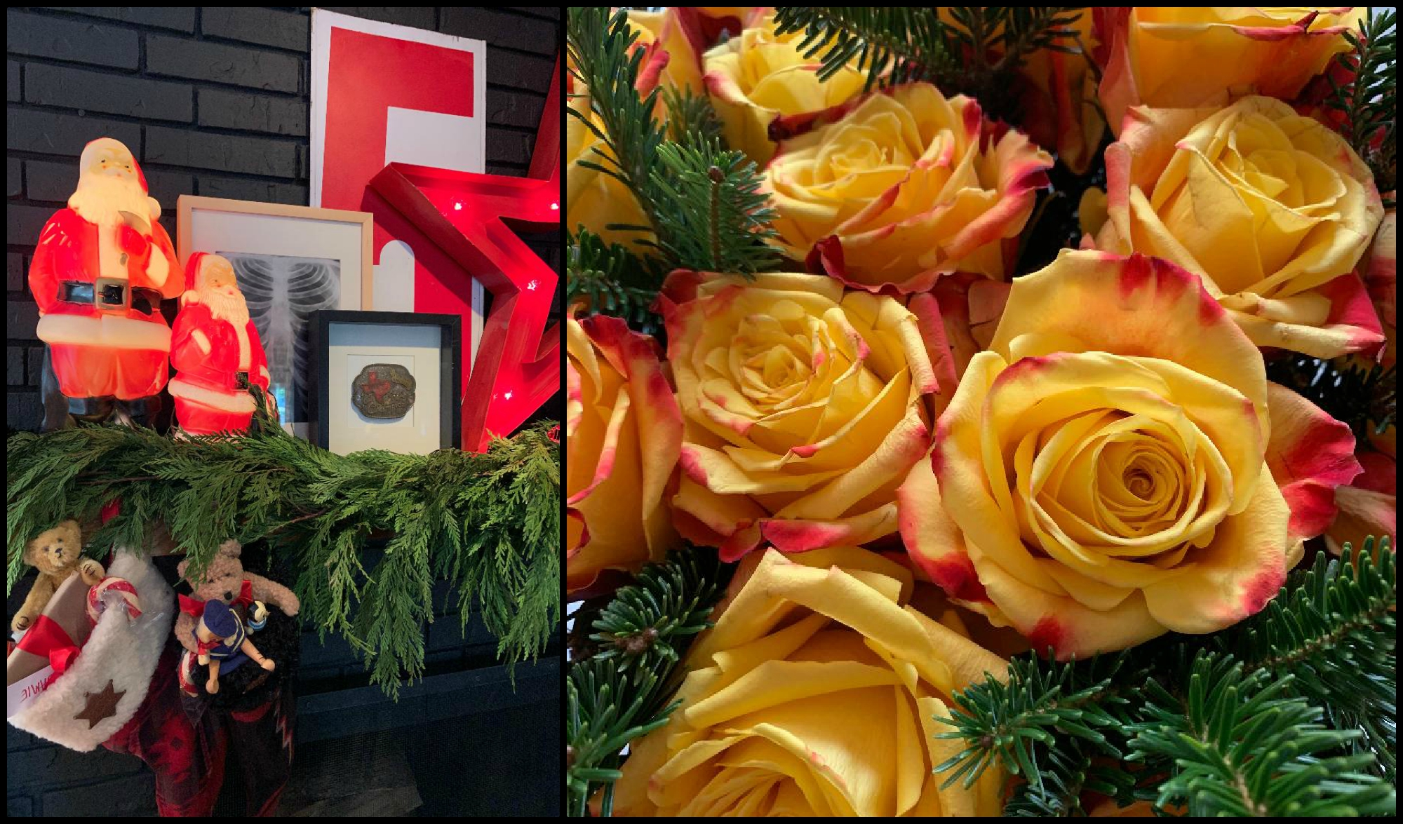 Mantle Scape and Roses Collage