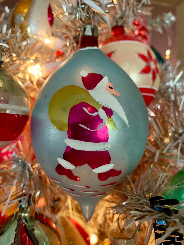 Santa Fantasie Ornament on Little Tree