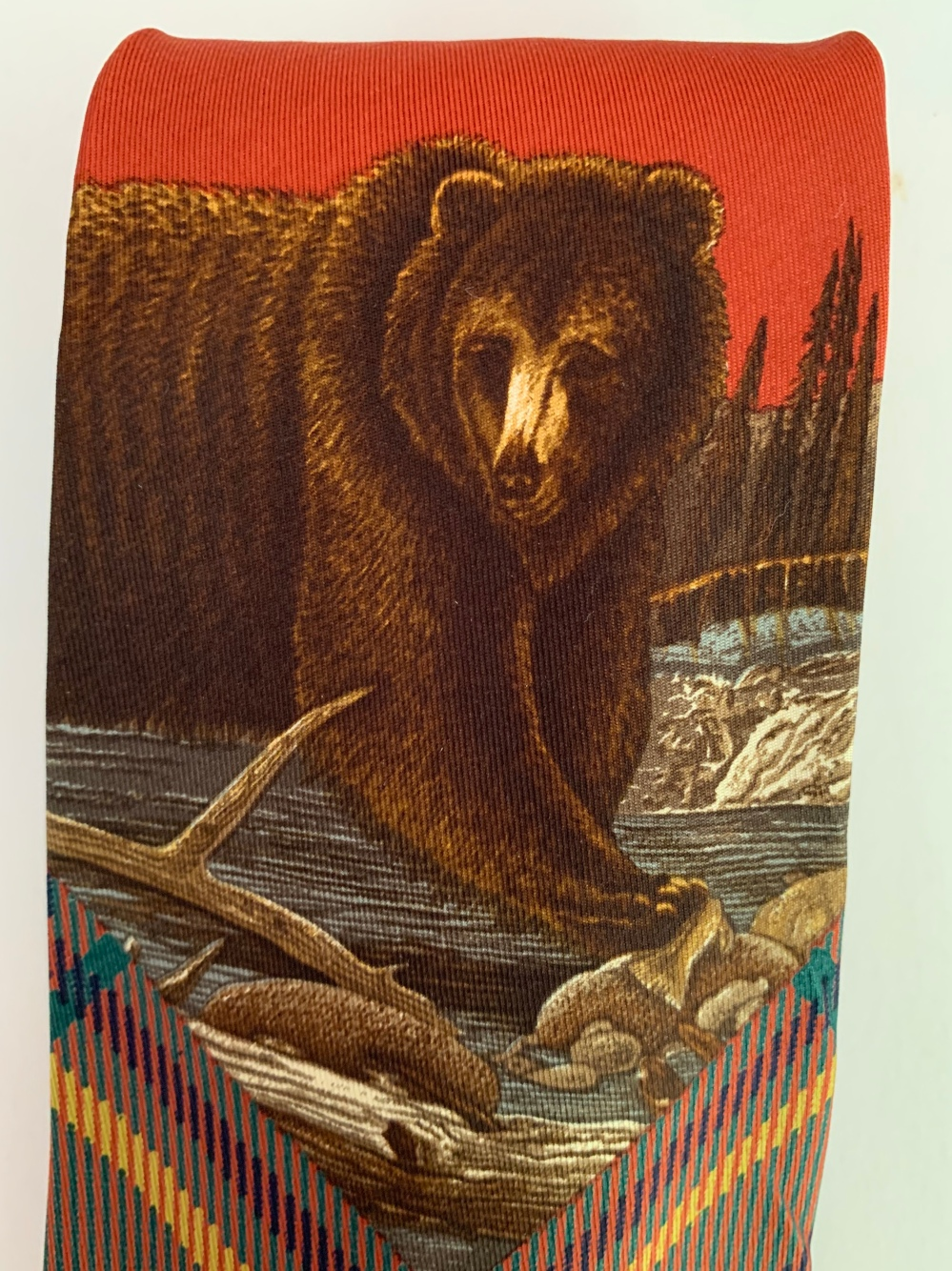 Bear on Vintage Polo Tie