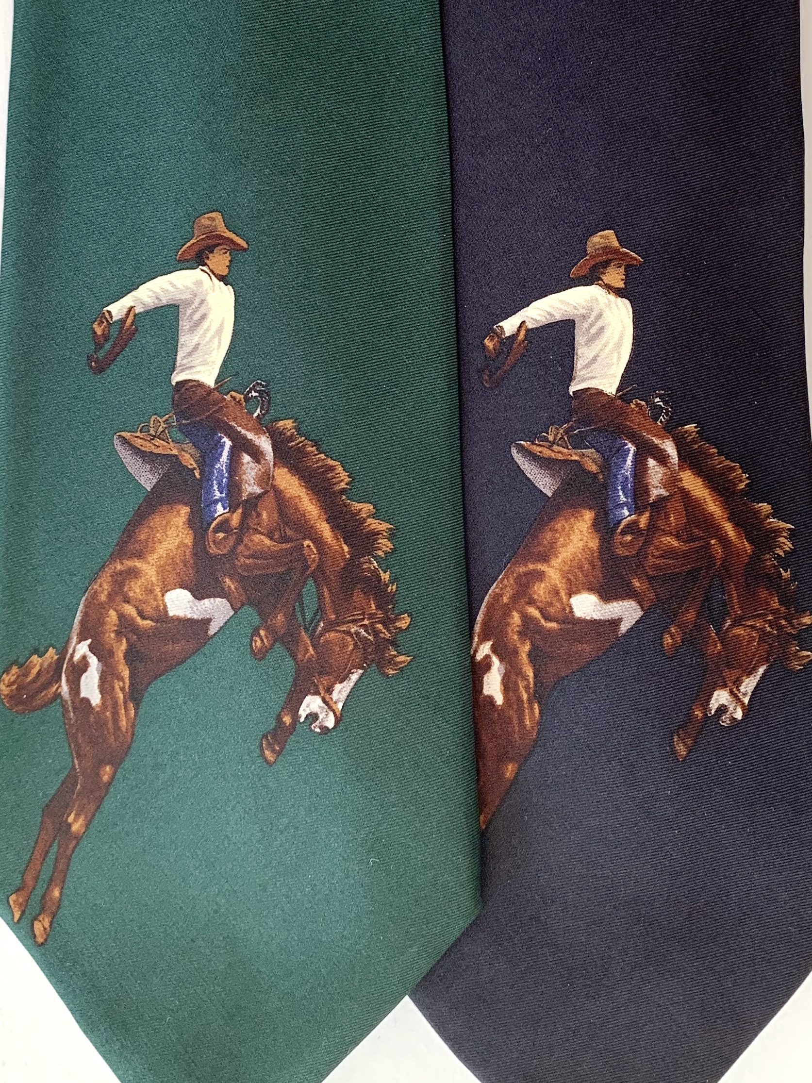 Bucking Broncos on Vintage Polo Tie