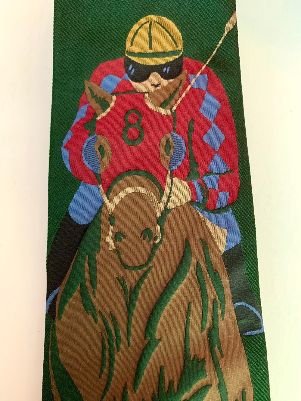 Embroidered Jockey on Vintage Polo Tie