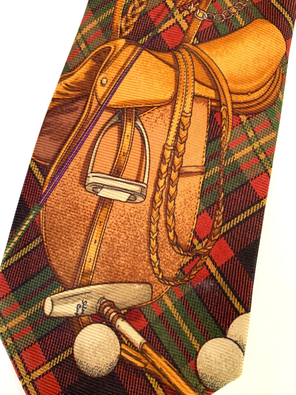 Equestrian Print on Vintage Polo Tie