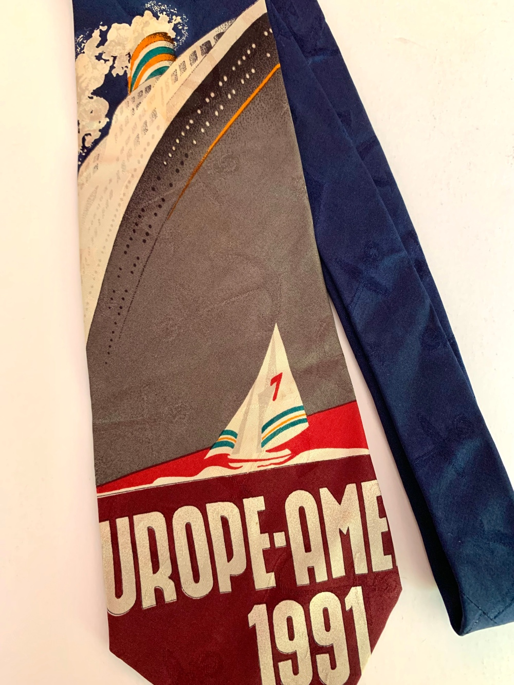 Vintage Travel Poster on Vintage Polo Tie