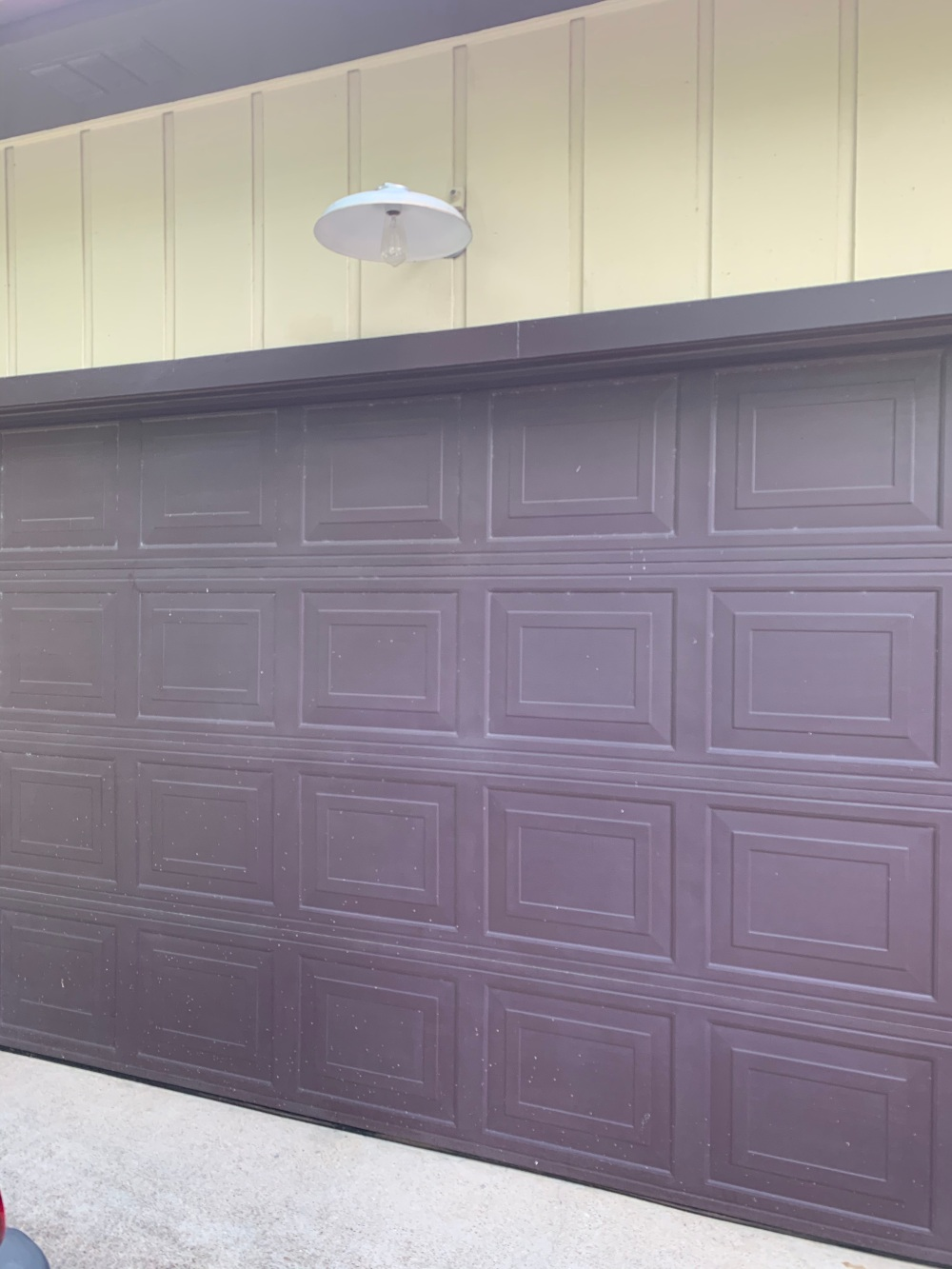 Garage Door with Former Small Silver Barn Light