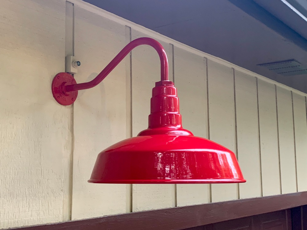 New Red Barn Light Over Garage